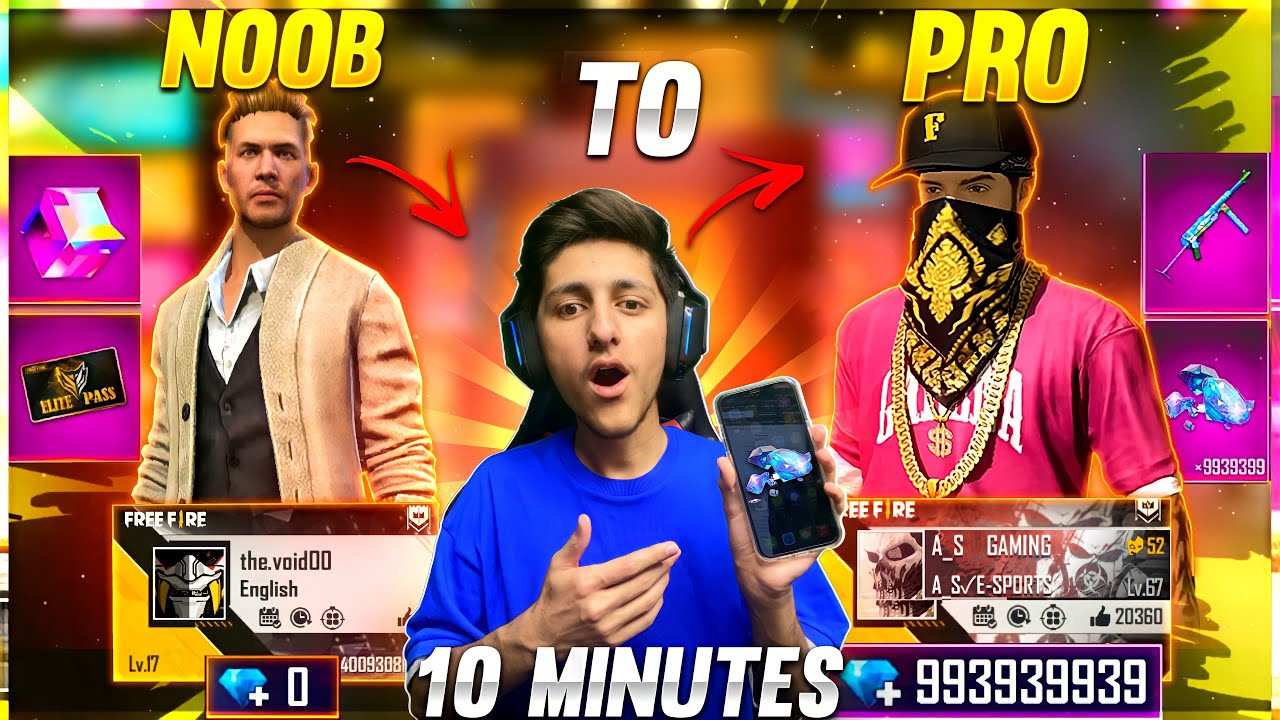 Noob To Pro Collection In 10 Minutes? 12,000 Diamonds Wasting Subscriber Account - Garena Free Fire