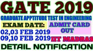 GATE 2019 ADMIT CARD OUT| GATE 2019 Exam Schedule ,Exam Date, Syllabus, Admit Card, Result