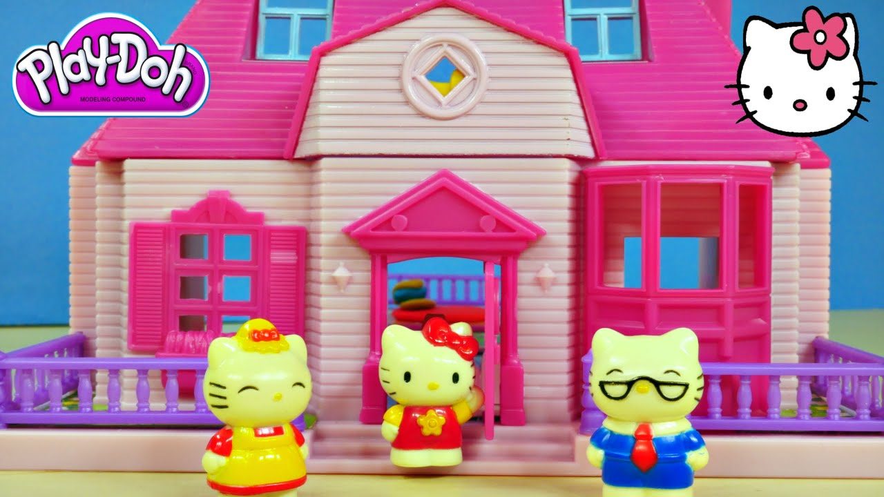 Hello Kitty House play doh hello kitty mini doll house flip out swimming pool sanrio