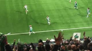 Amazing goal, catches a beer and celebrate with the fans.