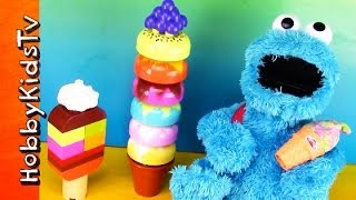Lego Ice Cream Cones! Cookie Monster Eats Play-doh Rex Eats Duplo 10574 By Hobbykidstv