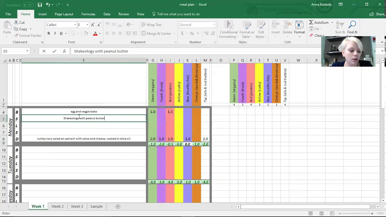 Easy Meal Planning Template using