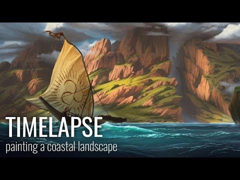 Timelapse: painting a coastal landscape
