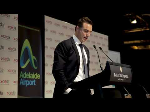 Brenton Cox speaks at CEDA 's Economic and Political Overview forum in Adelaide 2018