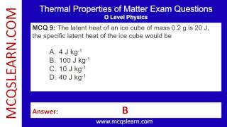 Thermal Properties of Matter Exam Questions - MCQsLearn Free Videos