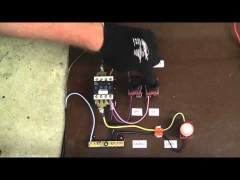 24v Starter Wiring Diagram Relay Contactor With Push Button On Off Control Youtube