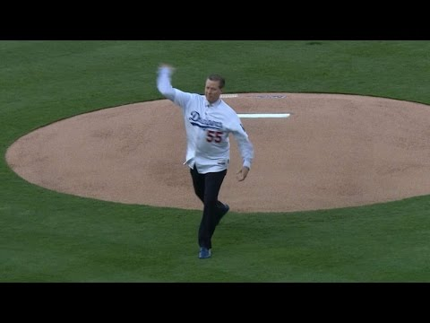 Hershiser throws first pitch to Hatcher