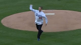 Hershiser throws first pitch to Hatcher(10/15/15: Dodgers great Orel Hershiser throws out the ceremonial first pitch to his former teammate, Mickey Hatcher, before NLDS Game 5 Check out ..., 2015-10-16T03:44:38.000Z)