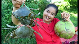 Yummy Cooking soup Crab with Coconut recipe & My Cooking skill