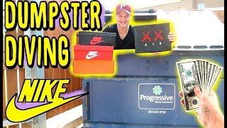 NIKE OUTLET DUMPSTER DIVING!! HUNDREDS OF DOLLARS WORTH OF SNEAKERS FOUND!!