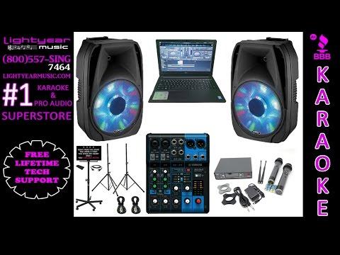 Karaoke System with LED Karaoke Speakers Laptop Yamaha Mixer & Dual Wireless Karaoke Microphones 🎤