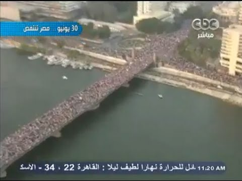Biggest Protest In Egypt Streets Filled With People - Military Helicopter Footage
