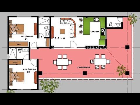Planos De Casas De 1 Piso Con 3 Rec Maras Youtube