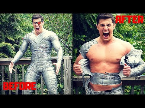Bodybuilder Trapped in a DUCT TAPE Body Suit | Bodybuilder VS Crazy Duct Tape Challenge Fail