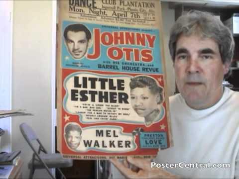 Johnny Otis, Little Esther Concert Poster 1950s R&B Window Card