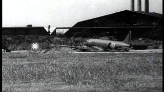 Japanese planes parked in airfield of Tokyo Municipal Airport HD Stock Footage