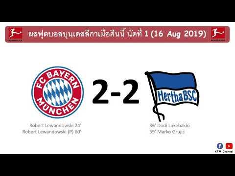 ผลบอลบุนเดสลีกาล่าสุด นัดที่1 : บาเยิร์นปาดเหงื่อ ไล่เจ๊าแฮร์ธ่า แบ่งแต้มนัดเปิดฤดูกาล(16 Aug 2019)
