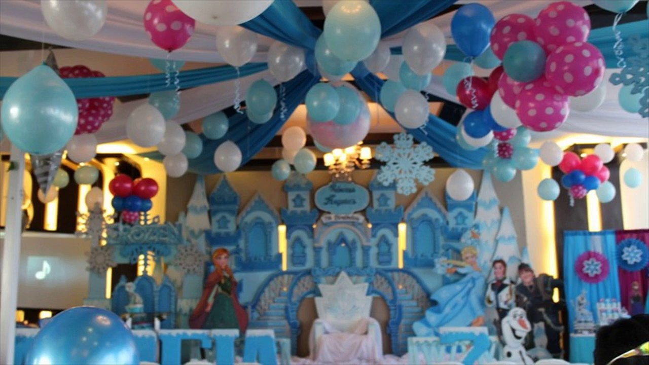 1st birthday princess balloon decoration idea youtube for Balloon decoration for 1st birthday party