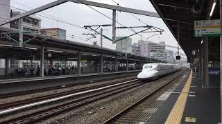 2019.8.19(月)7:55 山陽新幹線 西明石駅【N700A系の通過風景】