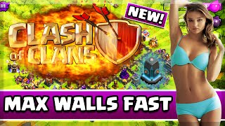 "Clash of Clans - ""HOW TO MAX WALLS FAST"" ! FASTEST WAY TO UPGRADE WALLS IN CLASH OF CLANS"