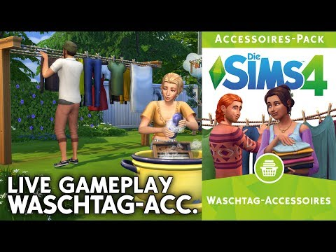 Live Preview | Die Sims 4 Waschtag-Accessoires | Baumodus, CAS, Gameplay