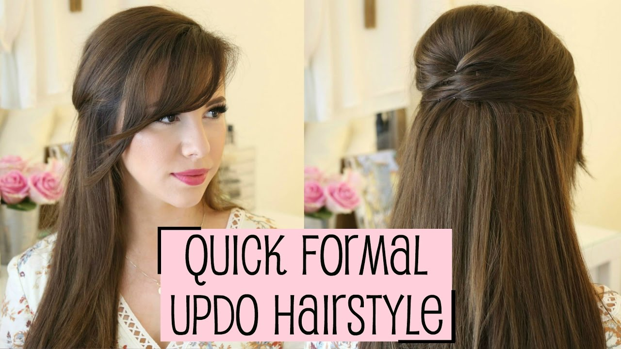 styling my new bangs + half up formal hairstyle!   hayley paige