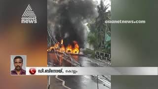 KSRTC bus - Tar mixing truck accident at Kottarakkara ; 4 Injured