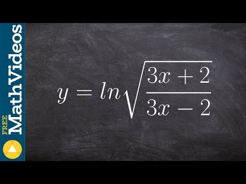Find the derivative by using the properties of logarithms