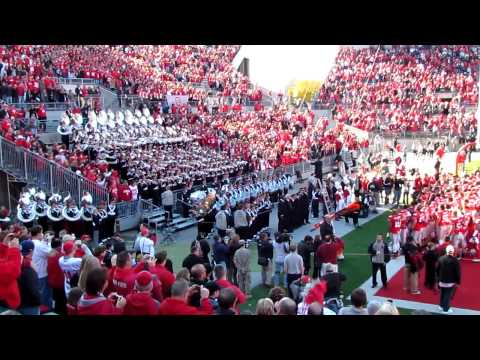Ohio State University Marching Band plays Alma Mater with Football Team. OSU vs IU 11 5 2011