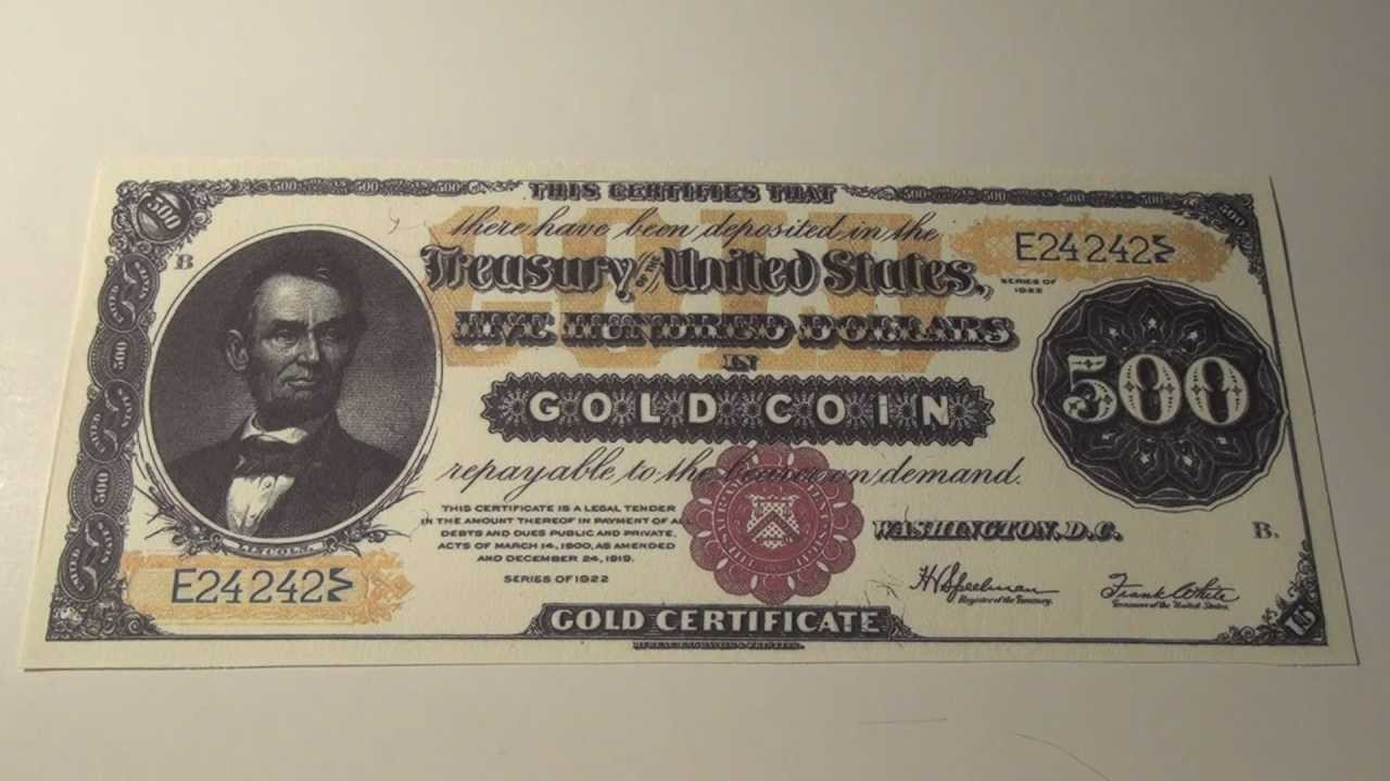 1922 500 gold certificate youtube xflitez Choice Image