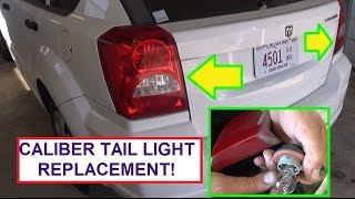 How to Replace Rear Tail Light Bulb Dodge Caliber.  Stop, turn signal, reverse light bulb