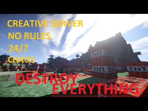 Minecraft 1.8.3 server made to be wrecked! CREATIVE MODE 24/7 NO WHITELIST