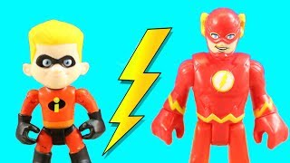 Incredibles 2 Dash & Imaginext Flash Speedsters Race To The Rescue + Mr. Incredible Lifts Building