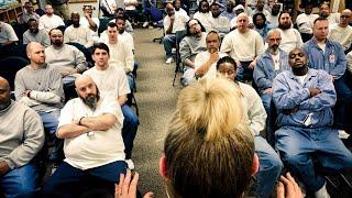 Principal Mauri Friestleben speaks at Stillwater Correctional Facility