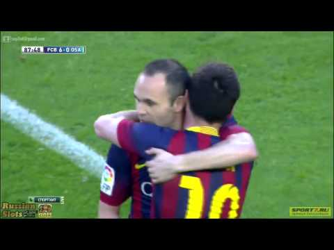 Hattrick de Lionel Messi Barcelona vs Osasuna 2014