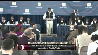 Eddie Goldman- Number 1 DT commits to Florida State University