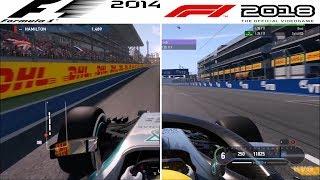 F1 Game Comparison (2014 - 2018 | Sochi Autodrom | Russian GP Hotlaps)