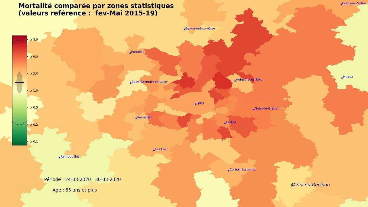 Carte D Evolution De La Mortalite Des Plus De 65 Ans En Region Parisienne Fevrier A Avril 2020 Youtube