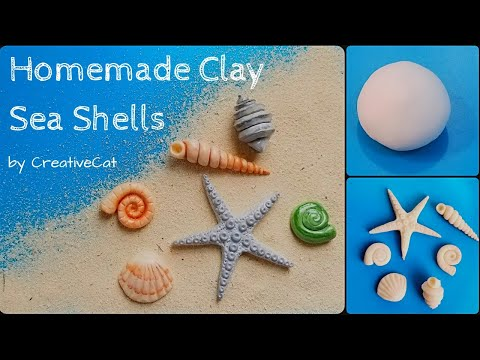 Sea Shells using Homemade Airdry Clay without Mould/Cold Porcelain clay Sea shells