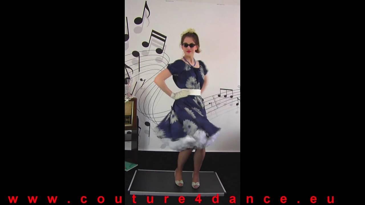 Petticoatrock / Petticoatskirt Gerbera+Carmenbluse Jenny,Blau