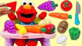 Feeding Sesame Street Baby Elmo Toy Velcro Cutting Fruits and Vegetables!