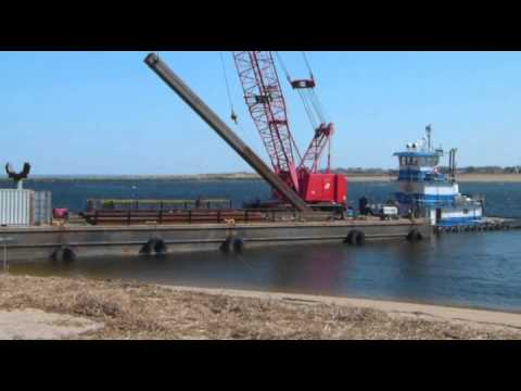 2nd Crane Barge Putting Anchor Posts In