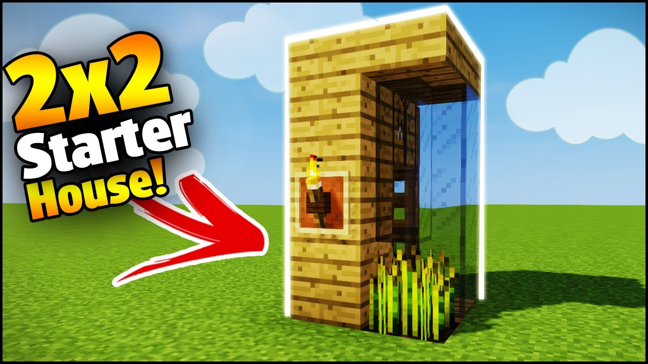 Minecraft 2x2 starter house tutorial how to build a house in minecraft smallest minecraft house