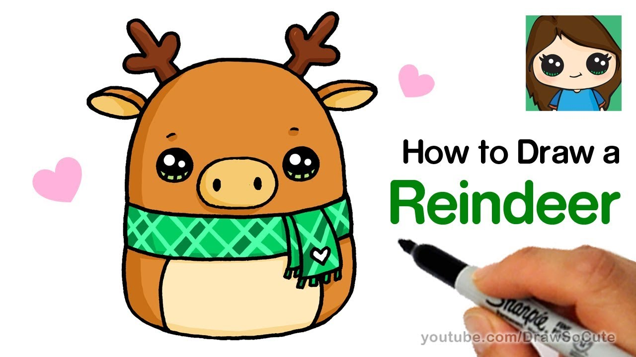 How to Draw a Reindeer Easy Squishmallows