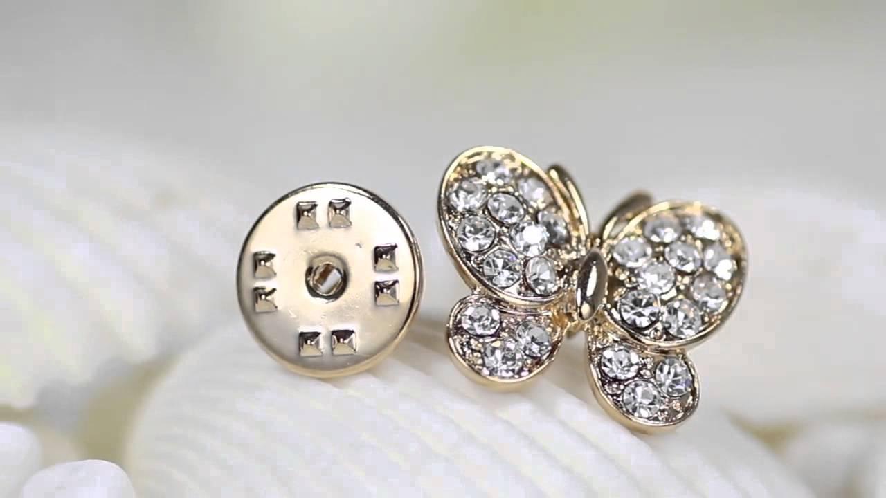 1f133c5f6d5 Rhinestone Butterfly Lapel Pin Brooch Gold - YouTube