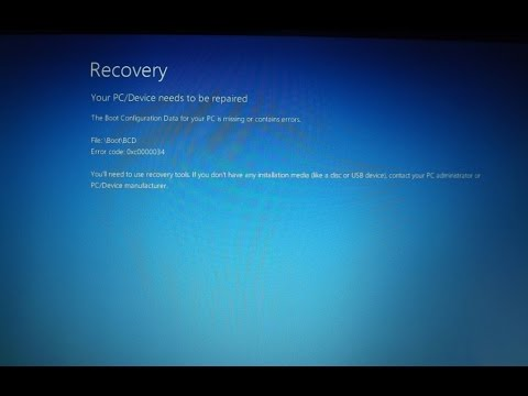 Windows 10 recovery page