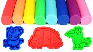Learn Colors with Play Doh and Fun Peppa Pig Molds with George Polly Parrot Danny Dog Suzy Sheep