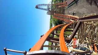 Goliath POV Six Flags Great America 2014 Wooden Roller Coaster Front Seat On-Ride HD 1080p