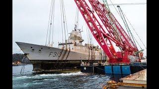 Timelapse Raising Operation Knm «helge Ingstad» (full) Reflotación De La Fragata Knm Helge Ingstad