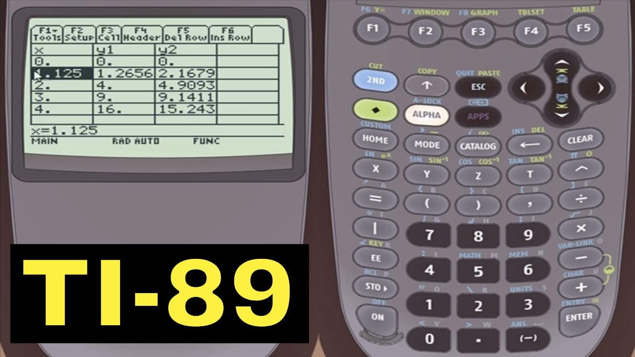 ti 89 calculator 27 creating a table of values of a function